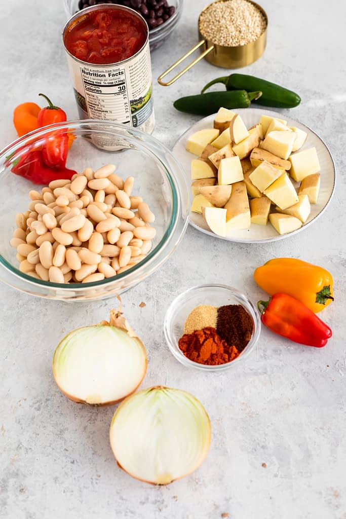 fall chili recipe ingredients in separate bowls