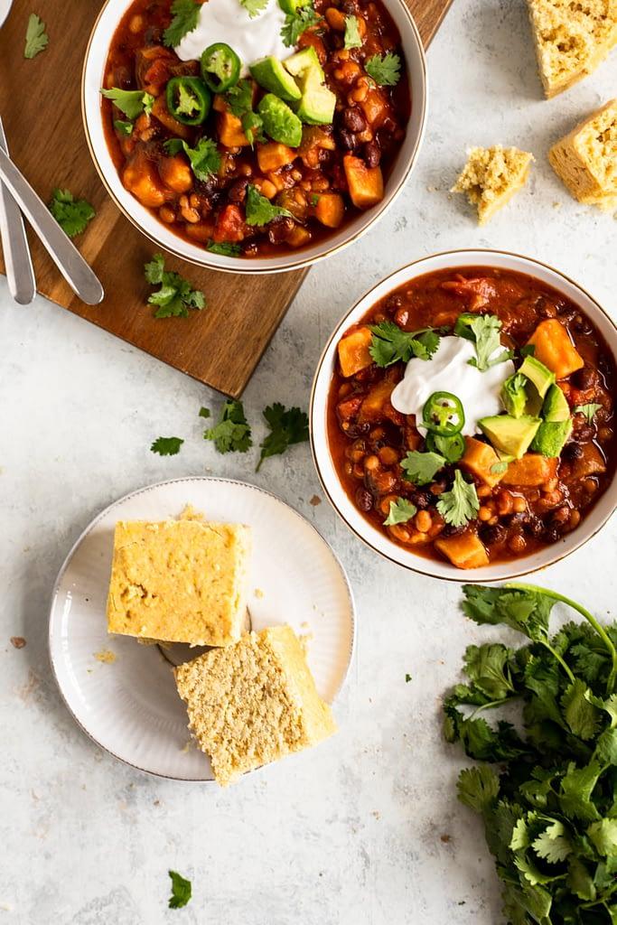 Fall Chili Recipe in bowls with cornbread in focus