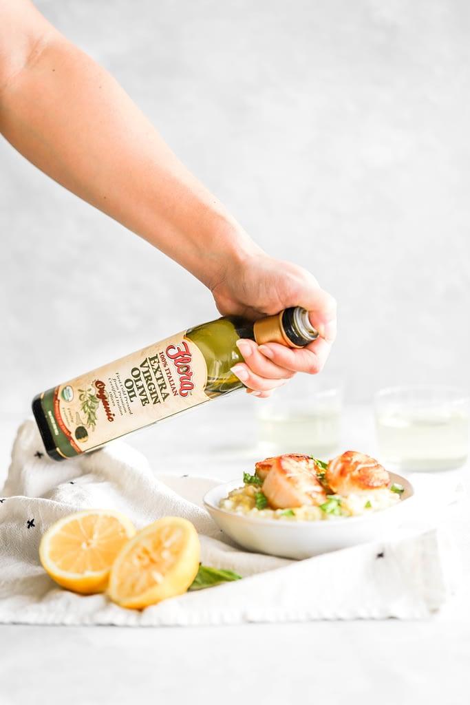 Lemon Basil Risotto with Scallops