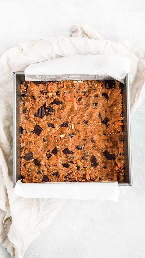 easy cookie bars pressed into pan