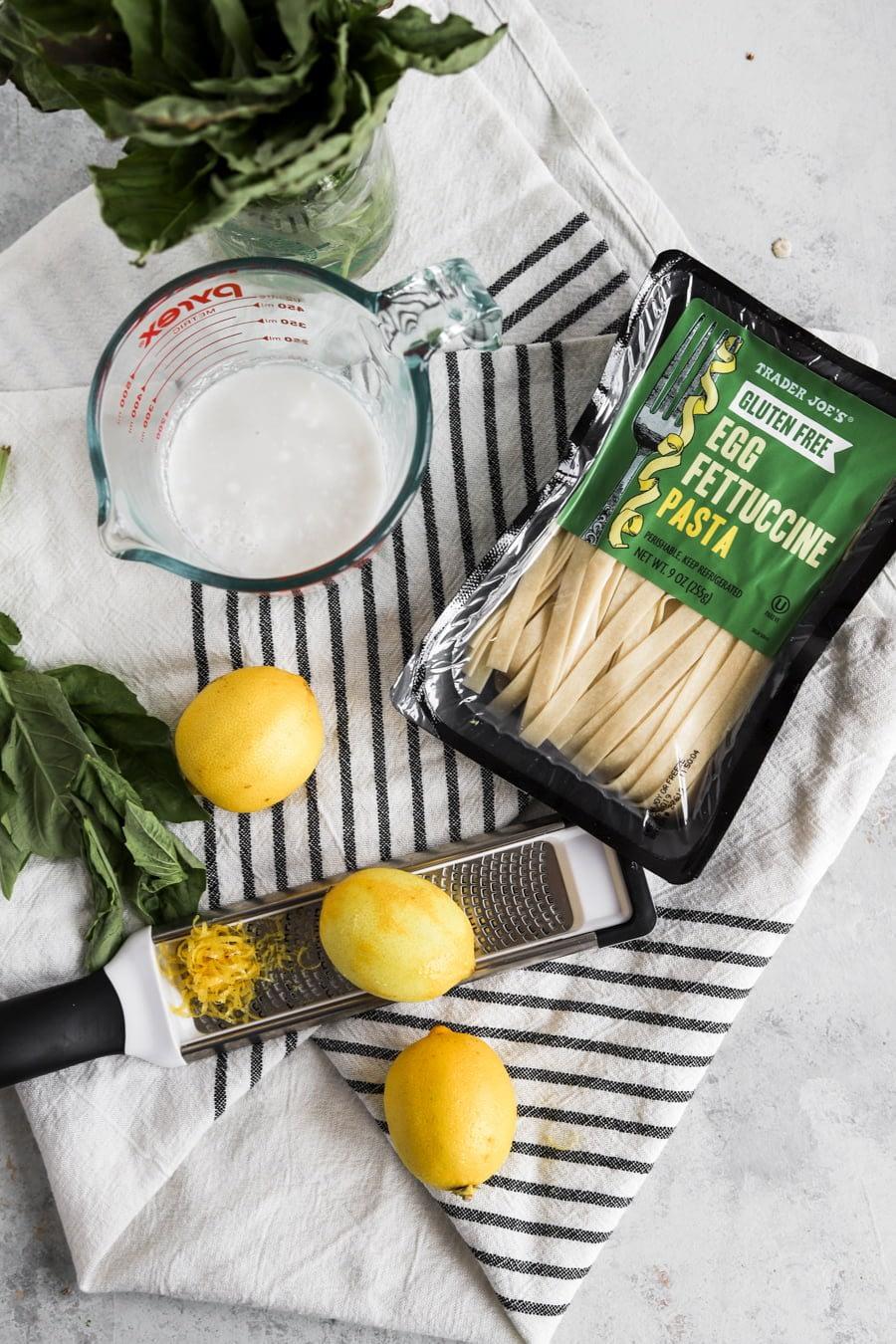 creamy lemon pasta ingredients