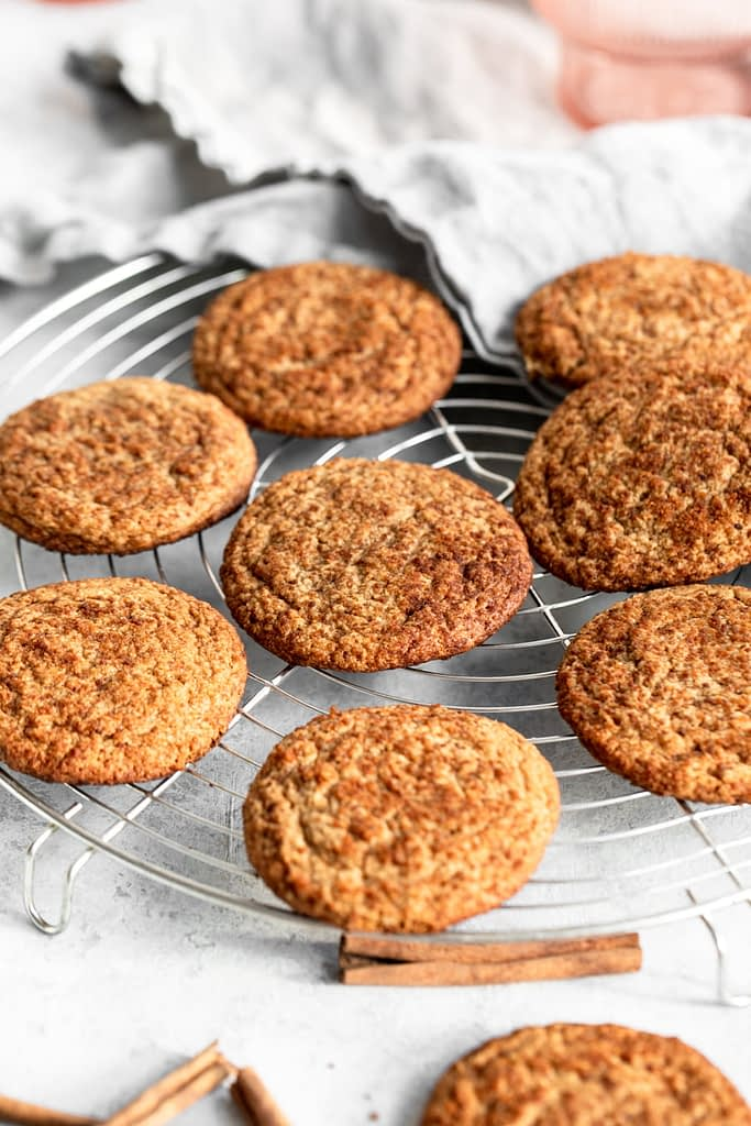 Healthy snickerdoodle cookies on wire rack