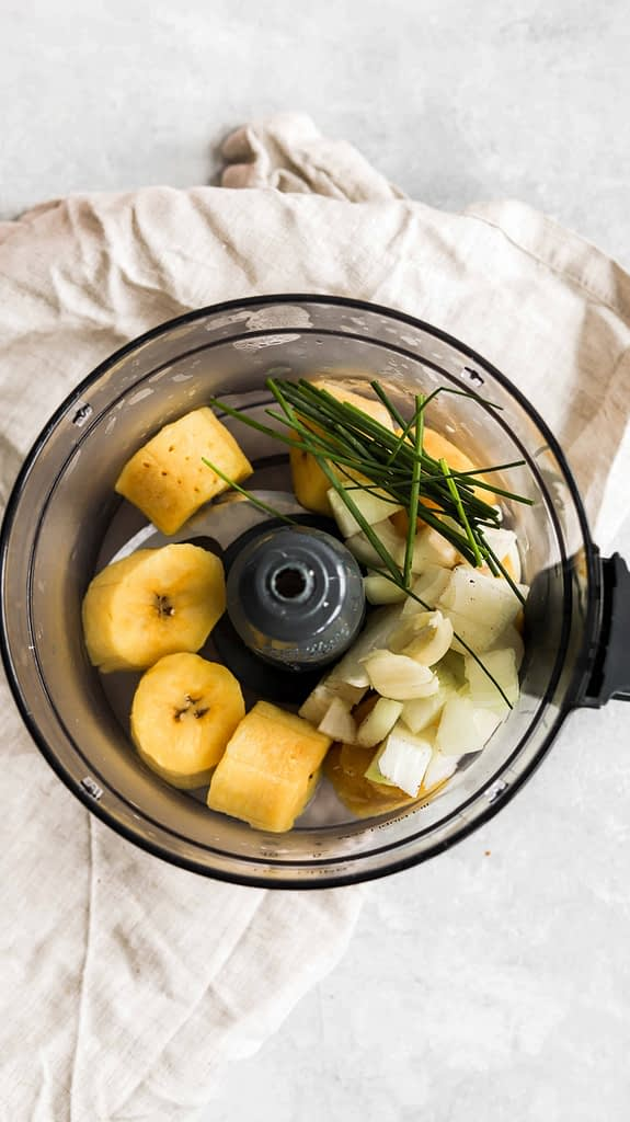 Plantains, Chives, Garlic and onion in food processor
