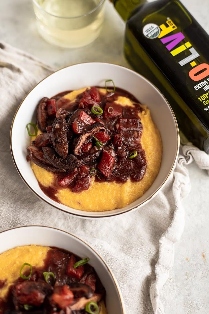 creamy polenta with o-live olive oil