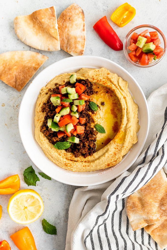 Loaded Hummus Recipe overhead shot