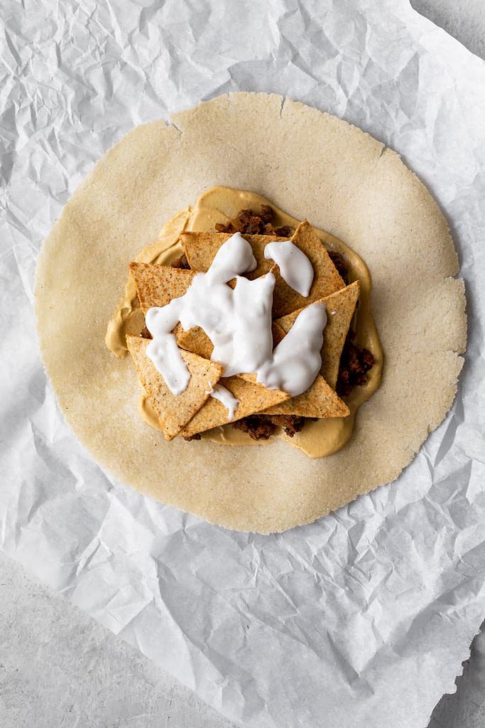 homemade crunchwrap sour cream